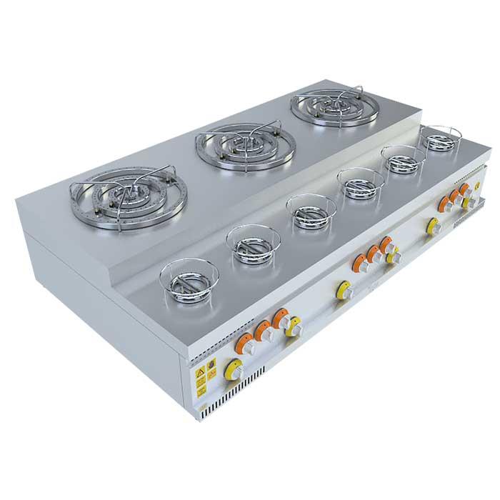 (3x3)+(6x1) BASAMAKLI KÜNEFE OCAĞI, (3x3)+(6x1) STEERING KUNEFE FURNACE, KUNEFE QUARRY, Stove, Beka, Beka Mutfak, industrial, kitchen, industrial kitchen