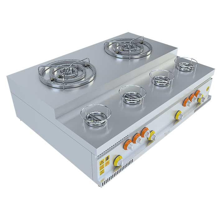 (2x3)+(4x1) BASAMAKLI KÜNEFE OCAĞI, (2x3)+(4x1) STEERING KUNEFE FURNACE,KUNEFE QUARRY, Stove, Beka, Beka Mutfak, industrial, kitchen, industrial kitchen